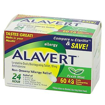 Alavert 24-hour non-drowsy allergy relief, tablets, mint, 60 ea