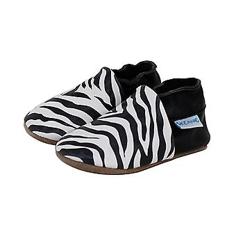 SKEANIE Classic Leather Pre-walker Shoes in Black & White Print