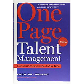 One Page Talent Management - with a New Introduction - Eliminating Com