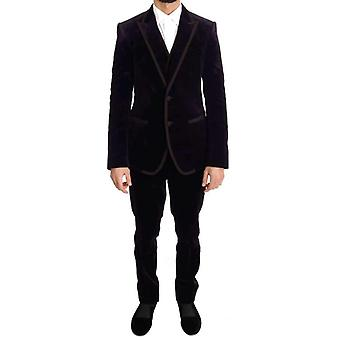 Dolce & Gabbana Purple Velvet Slim Fit Kétgombos öltöny - KOS1845744