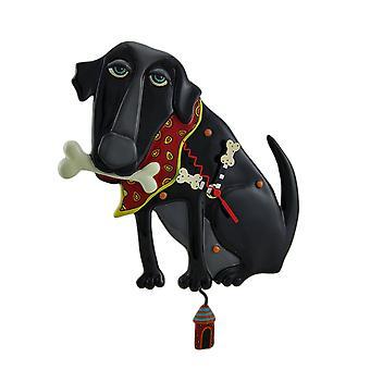 Allen Designs Parker Hund schwarz Pendel Wand Uhr 13.