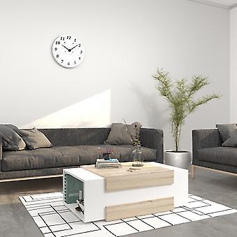 Tavolino Da Caffe' Simon Color Bianco, Sonoma in Truciolare Melaminico 100x60x35 cm