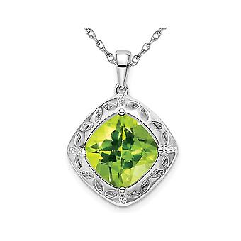 4.25 (ctw) Natural Peridot Pendant Necklace in Sterling Silver with Chain