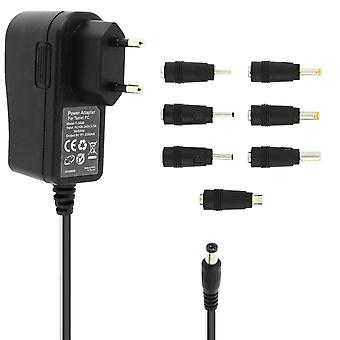 10W AC/DC Adapter Charger with 7 adapter tips and Micro-USB T-3A08- LinQ, Black