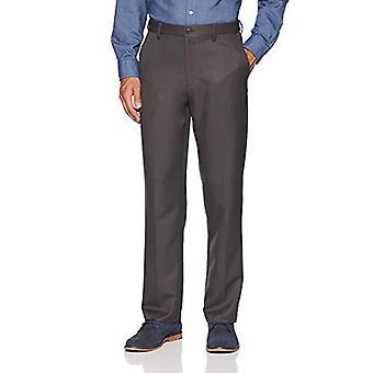 أساسيات الرجال قابلة للتوسيع الخصر الكلاسيكية تناسب شقة الجبهة اللباس السراويل، رمادي داكن، 33W × 32L