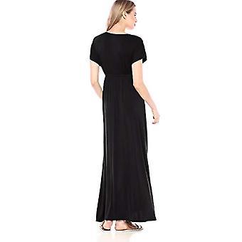 Essentials Women's Solid Surplice Maxi Dress, Noir, S