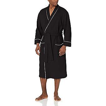 Essentials Men's Waffle Shawl Robe Sleepwear, -Black, XL/XXL