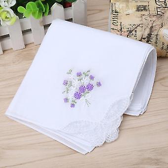 Vintage Cotton Embroidered Lace Handkerchief 6pcs - Women Floral Hanky