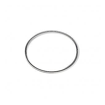 Armband Jonc zilver Rhodié 60mm draad 4mm breedte opening aan de zijkant