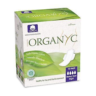 Compresas noche c/alas (Bolsa Ind) 100% Algodón Orgánico 10 unidades