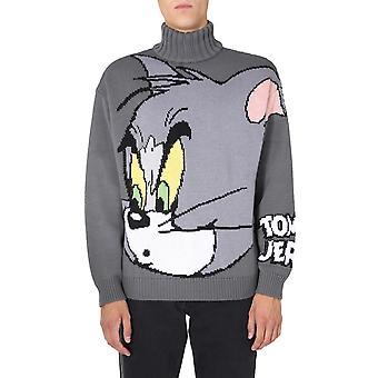Gcds Tj21m02000210 Men's Grey Wool Sweater