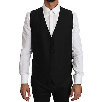 Dolce & Gabbana Black Wool Silk Logo Waistcoat Vest -- TSH2833264