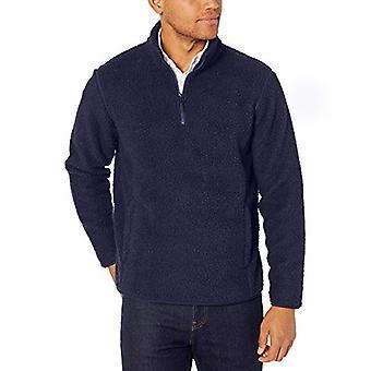 Essentials Men's Sherpa Fleece Quarter-Zip Pullover, Navy, Medium