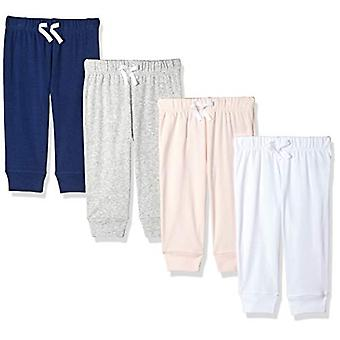 Essentials Girls' Baby 4-Pack Pull-On Pant, różowy/multi, 12 miesięcy