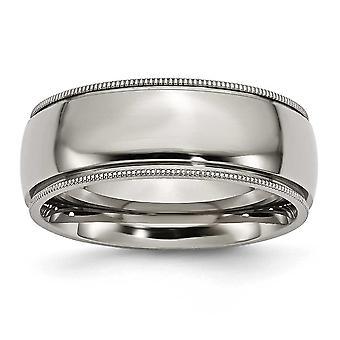 Titanium Engravable Grooved and Beaded 8mm Polished Band Ring Jewelry Gifts for Women - Ring Size: 8 to 14