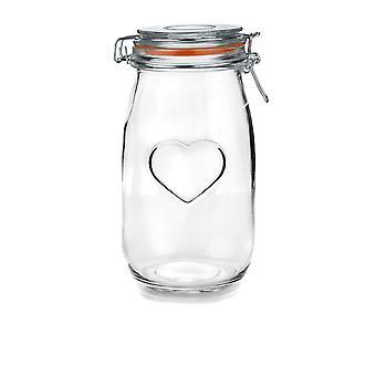 Nicola Frühling Herz Glas Aufbewahrungsglas mit luftdichten Clip Deckel - 1,5 L - Orange Siegel