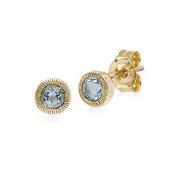 עגילים צמודים קלאסיים אבן יחיד אקווה מרין מילגרן עגילים צמודים בזהב צהוב 9ct 135E1522099