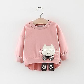 Autumn Girls Sweatshirts, Baby Infants Girl Clothes Cartoon Cat Bow Long Sleeve