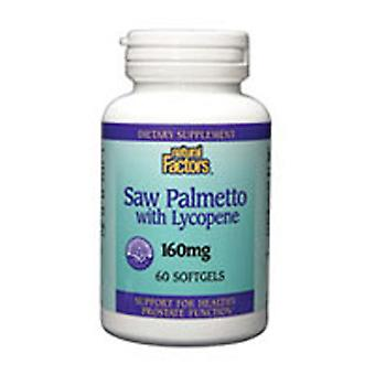 Natural Factors Saw Palmetto Extract, 160 mg, Lycopene 60 Softgels
