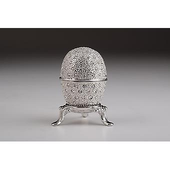 Silver Faberge Egg Trinket Box