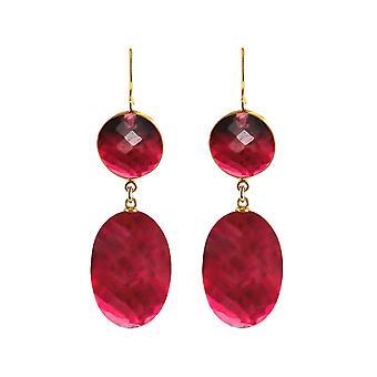 Gemshine Ohrringe mit roten Quarz Ovalen und roten Quarz Edelsteinen. 925 Silber