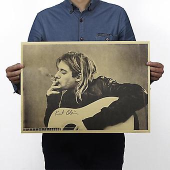 Cobain Nirvana Frontman Smoking Vintage Kraft Paper Movie Poster