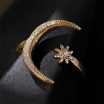 Fashion Ring Moon Star Open Finger Adjustable  Women Jewelry Ring For Wedding