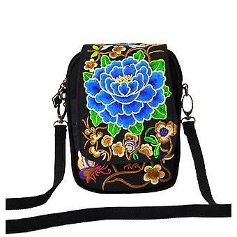 Dámske rameno taška, Cestovanie Vintage kvetinové vyšívané crossbody zips taška