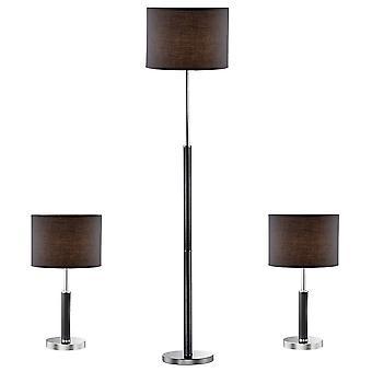 Italux Barnett - Lámpara de Mesa Clásica (3 Set) Negro 1 Luz con Sombra de Tela, E27