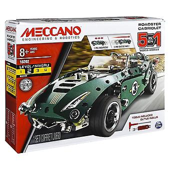 Meccano 5-in-1 Model Set - Roadster with Pull Back Motor