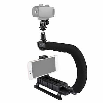 PULUZ U/C Shape Portable Handheld DV Bracket Stabilizer + LED Studio Light Kit with Cold Shoe Tripod Head  for All SLR Cameras and Home DV Camera