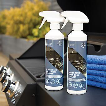 Charles Bentley Duo Set of BBQ and Heavy Duty Powerful Grill Cleaner for Garden Outdoor BBQ's with Microfiber Cloths 500ml