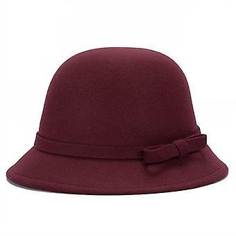 Vintage Wool Felt Bowler Derby Fedora Trilby Bowknot Fedoras Hat, Cap
