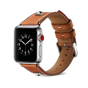 Genuine Leather Rivet Watch Strap for Apple Watch Series 4 & 3 & 2 & 1 38mm & 40mm (Brown)