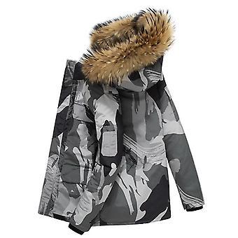 الشتاء أسفل باركاس سترة الرجال أزياء مقنعين الفراء طوق Windbreaker outwear