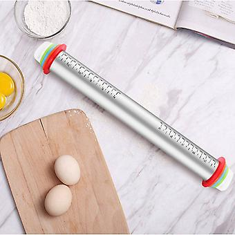 Adjustable Stainless Steel Rolling Pin - With Discs And Measurement Markings For Baking Dough Pizza Pie Cookies
