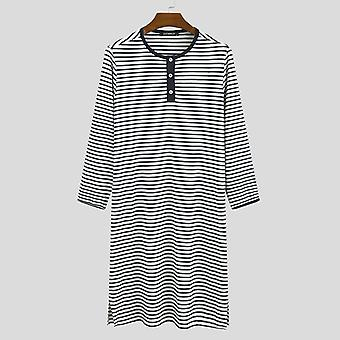 Men Stripe Sleep Tops Long Sleeve Round Neck Nightgown Comfortable Sleepwear