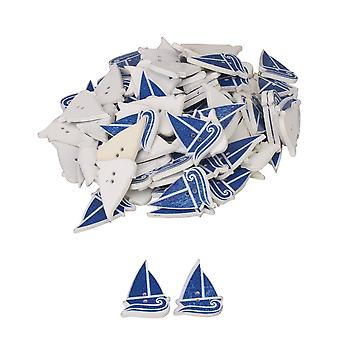 100x Sailboat Shape Pattern Decorative Button for Sewing Crafting Wooden