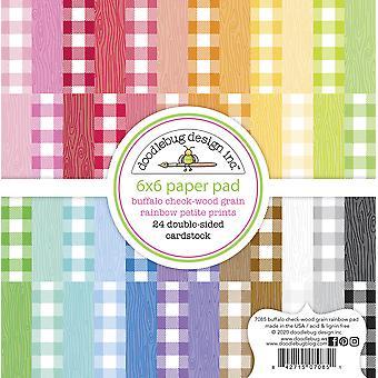 Doodlebug Design Buffalo Check-Woodgrain Rainbow Petite tulostaa 6x6 tuuman paperityynyn