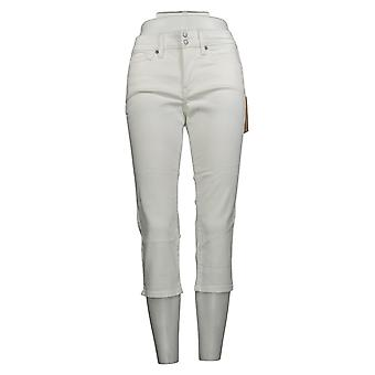 NYDJ Women's Petite Jeans Cool Embrace Skinny Crop Side Slits White A377695