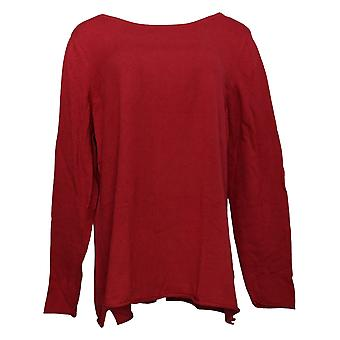 Belle By Kim Gravel Women's Sweater Cashmere Blend Bateau Neck Red A386458