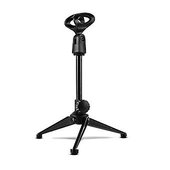Portable Plastic Microphone Stand Desktop Tripod Wireless Wired Desktop (black)