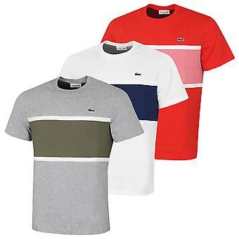 Lacoste Herren 2021 TH0045 schwere Jersey Baumwolle Krokodil gestreift T-Shirt