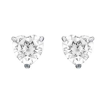 Jewelco London Ladies Rhodium Plated Sterling Silver Heart Cubic Zirconia Love Heart Solitaire Stud Boucles d'oreilles 8mm