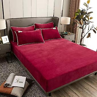 Winter Warm Solid Flannel Elastic Band Fitted Sheet Mattress Cover