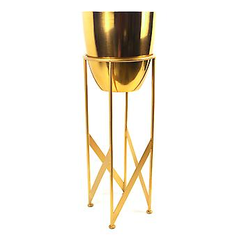 55cm Gold Planter with Matching Stand