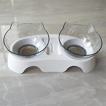 Katt dubbel skål med upphöjd stativ katt skål hund skål halkfri sällskapsdjur mat och vatten
