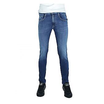 Replay Jeans Replay Mens Hyperflex Re-used Anbass Slim Stretch Denim Mid Blue