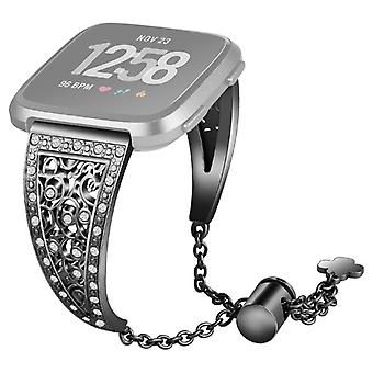 Для Fitbit Versa Цветочная форма Металл Алмазный шипованных цепь Wristband Watchband (черный)