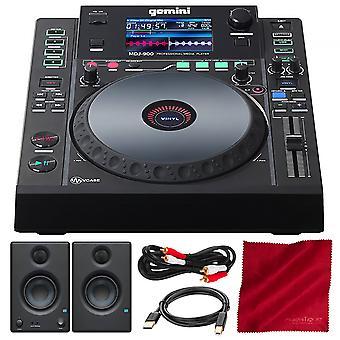 Gemini mdj série mdj-600 professionnel audio dj media player avec presonus eris e3.5 moniteurs de référence multimédia (paire) et pack de luxe